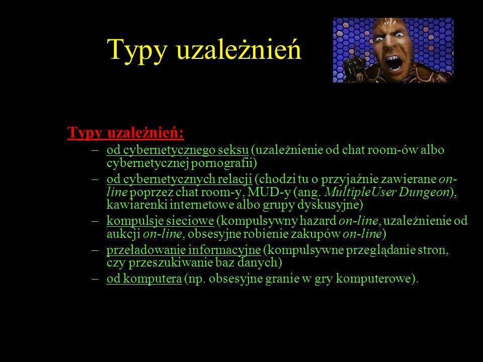 Typy uzależnień Typy uzależnień: