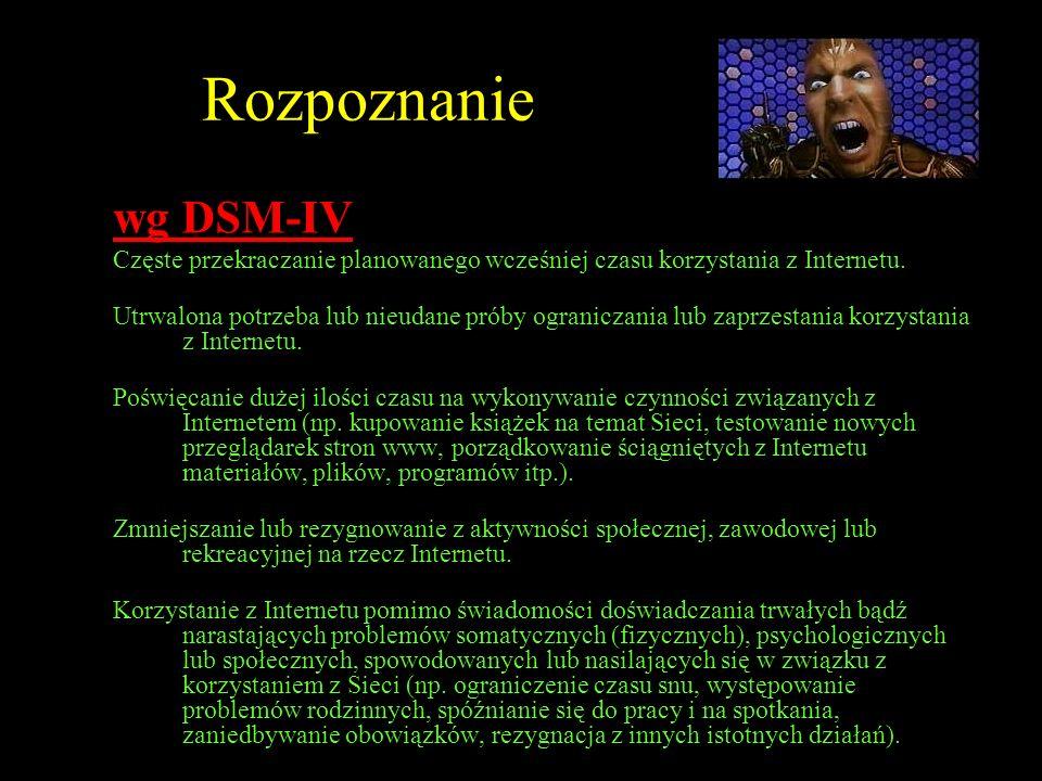 Rozpoznaniewg DSM-IV. Częste przekraczanie planowanego wcześniej czasu korzystania z Internetu.