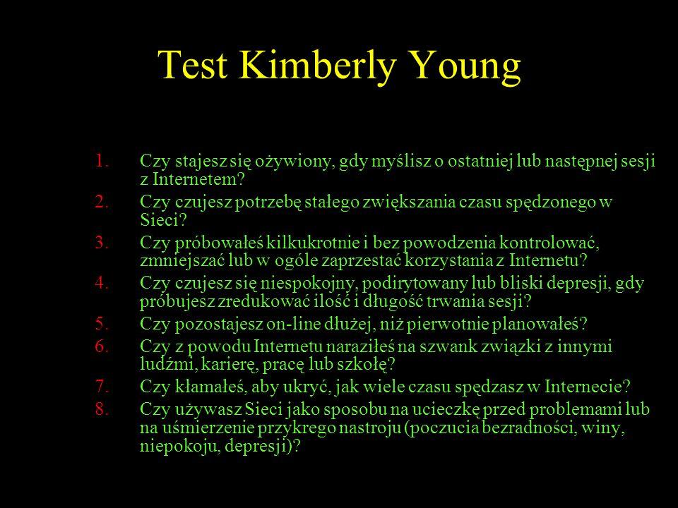 Test Kimberly Young Czy stajesz się ożywiony, gdy myślisz o ostatniej lub następnej sesji z Internetem