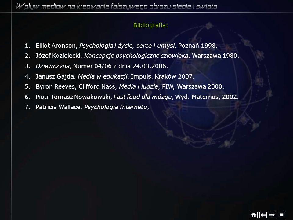 Bibliografia: Elliot Aronson, Psychologia i życie, serce i umysł, Poznań 1998. Józef Kozielecki, Koncepcje psychologiczne człowieka, Warszawa 1980.