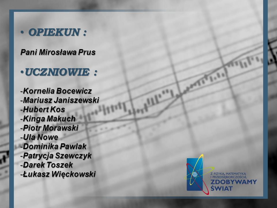 OPIEKUN : UCZNIOWIE : Pani Mirosława Prus Kornelia Bocewicz