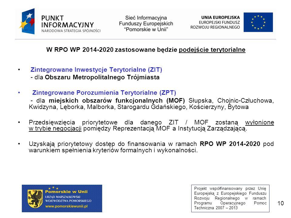 W RPO WP 2014-2020 zastosowane będzie podejście terytorialne