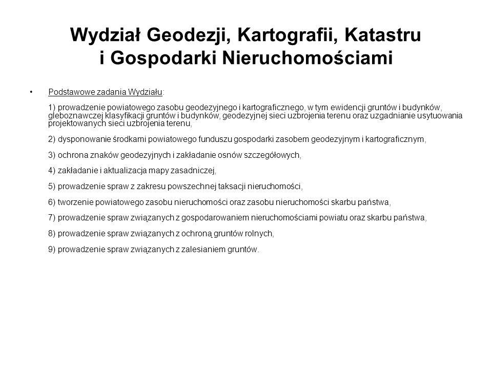 Wydział Geodezji, Kartografii, Katastru i Gospodarki Nieruchomościami