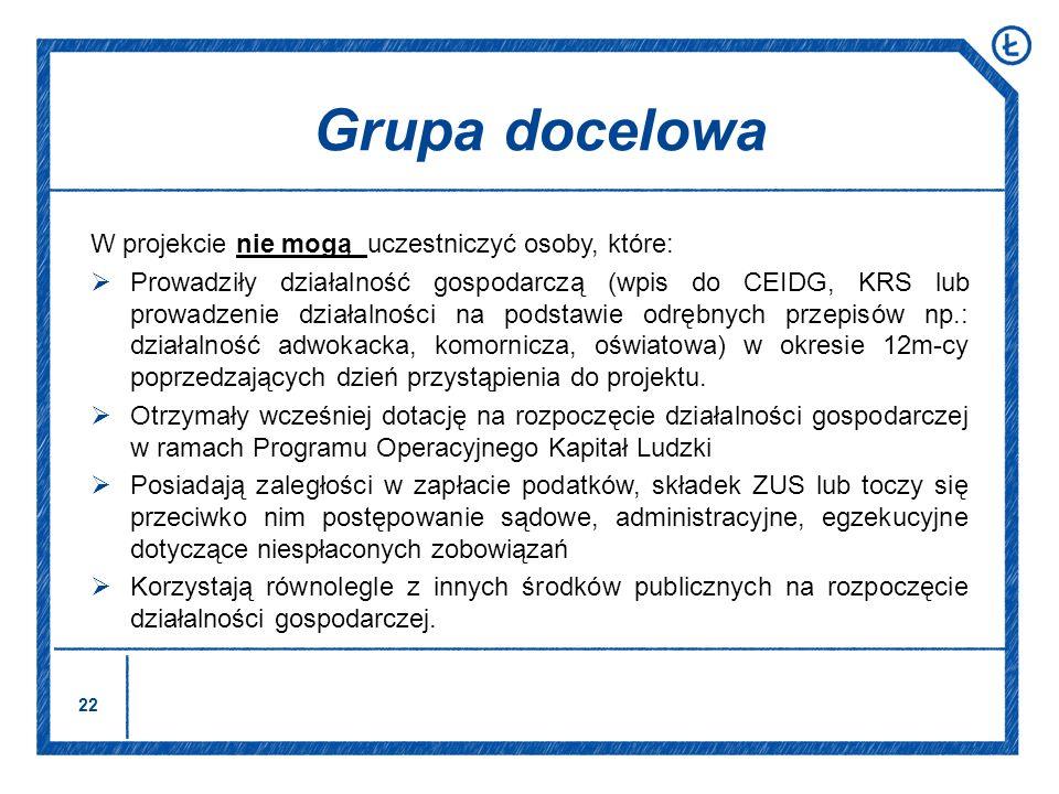 Grupa docelowa W projekcie nie mogą uczestniczyć osoby, które: