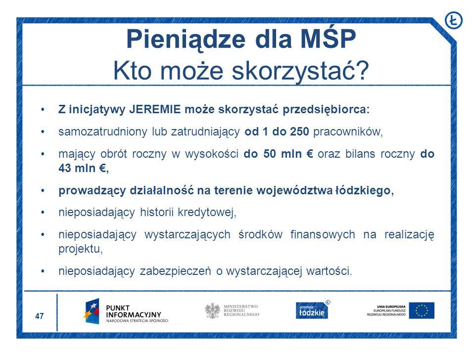 Pieniądze dla MŚP Kto może skorzystać