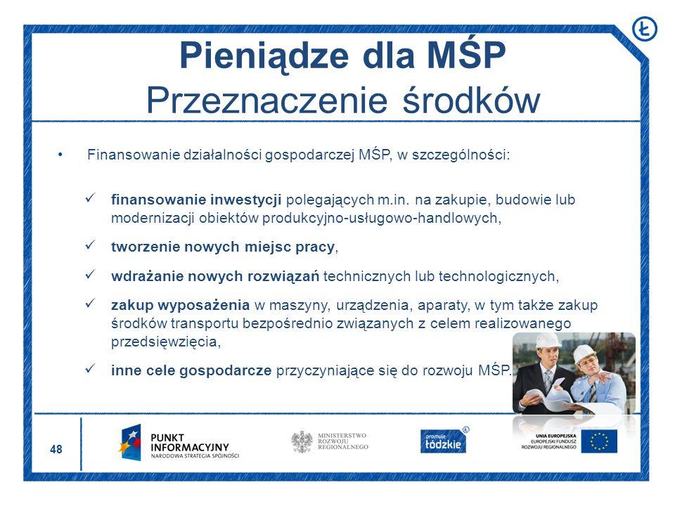 Pieniądze dla MŚP Przeznaczenie środków