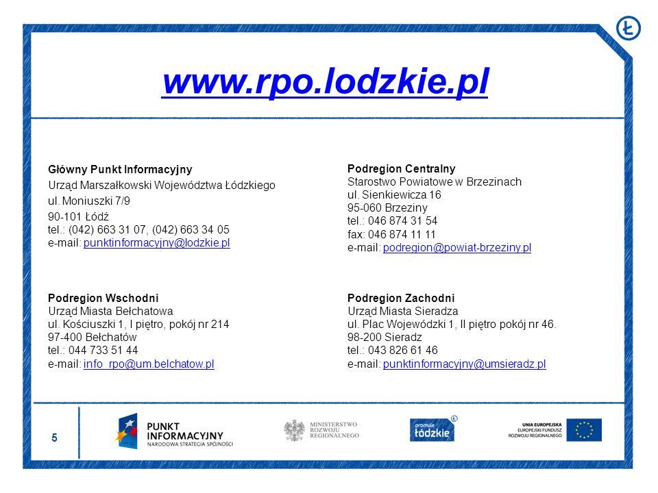 www.rpo.lodzkie.pl Główny Punkt Informacyjny