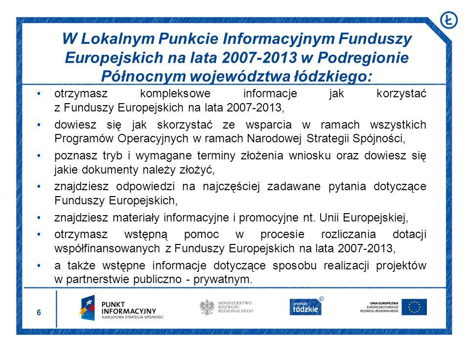 W Lokalnym Punkcie Informacyjnym Funduszy Europejskich na lata 2007-2013 w Podregionie Północnym województwa łódzkiego: