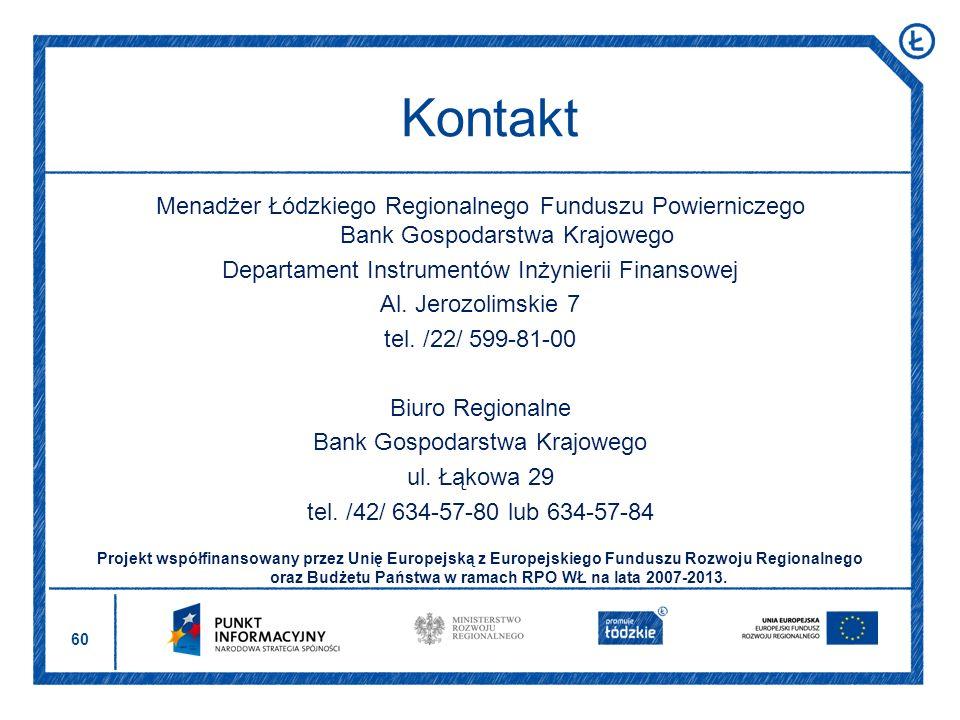 Kontakt Menadżer Łódzkiego Regionalnego Funduszu Powierniczego Bank Gospodarstwa Krajowego. Departament Instrumentów Inżynierii Finansowej.