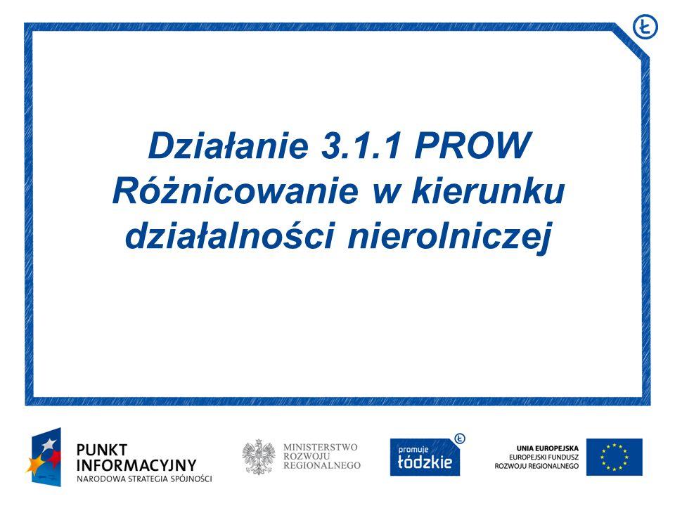 Działanie 3.1.1 PROW Różnicowanie w kierunku działalności nierolniczej