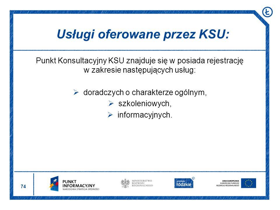 Usługi oferowane przez KSU: