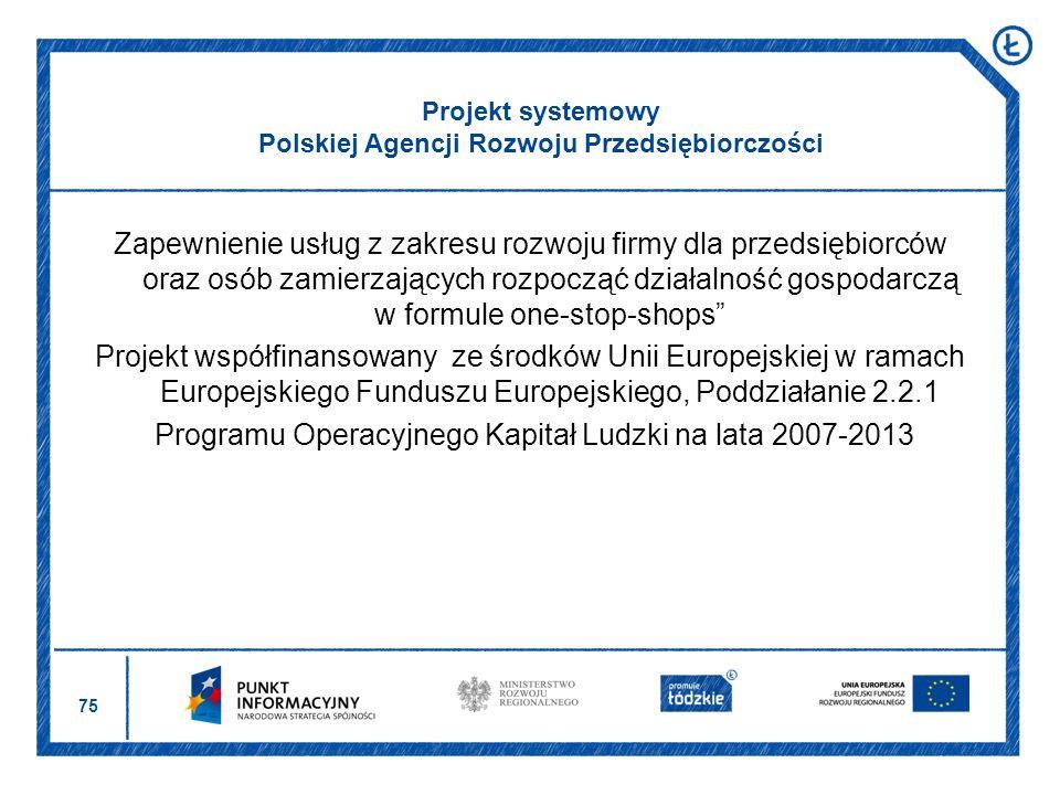 Projekt systemowy Polskiej Agencji Rozwoju Przedsiębiorczości