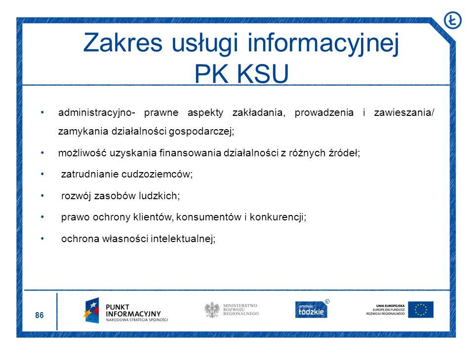 Zakres usługi informacyjnej PK KSU