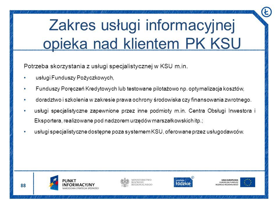 Zakres usługi informacyjnej opieka nad klientem PK KSU
