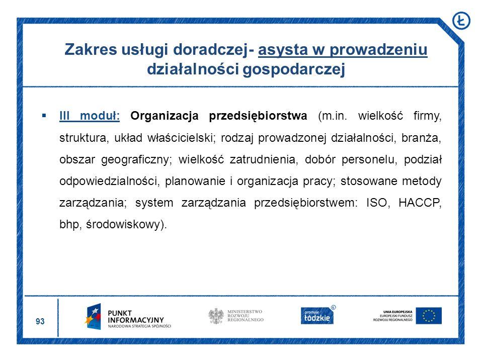 Zakres usługi doradczej- asysta w prowadzeniu działalności gospodarczej