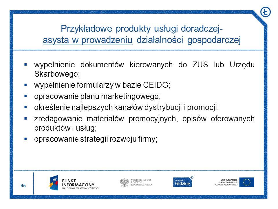 Przykładowe produkty usługi doradczej- asysta w prowadzeniu działalności gospodarczej