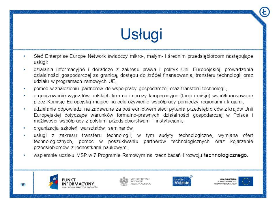 Usługi Sieć Enterprise Europe Network świadczy mikro-, małym- i średnim przedsiębiorcom następujące usługi: