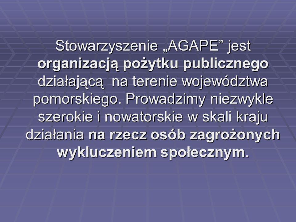 """Stowarzyszenie """"AGAPE jest organizacją pożytku publicznego działającą na terenie województwa pomorskiego."""