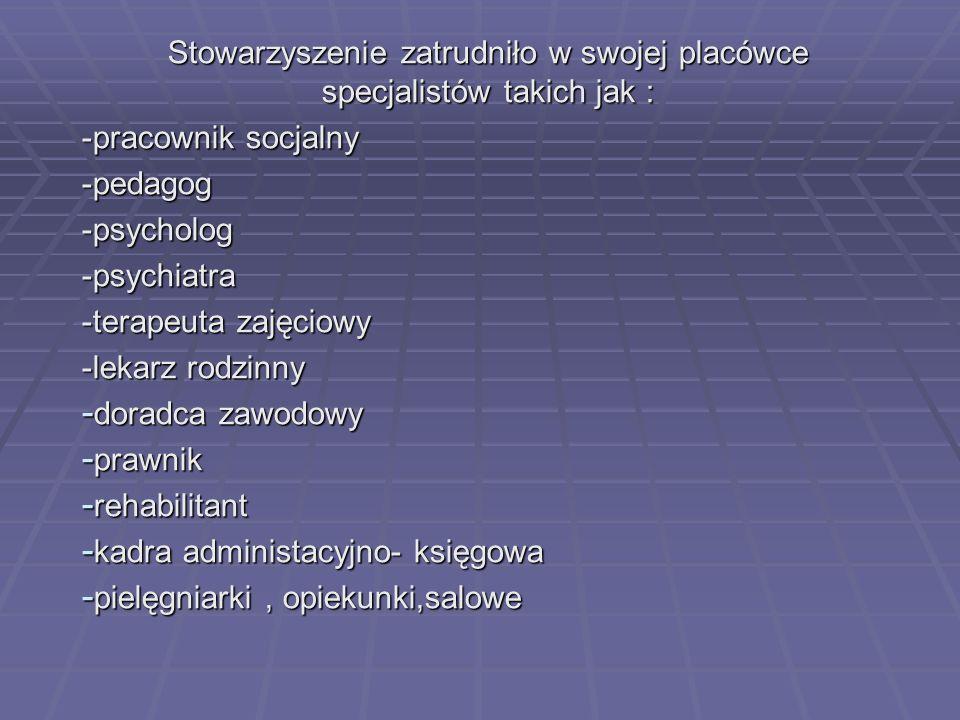 Stowarzyszenie zatrudniło w swojej placówce specjalistów takich jak :