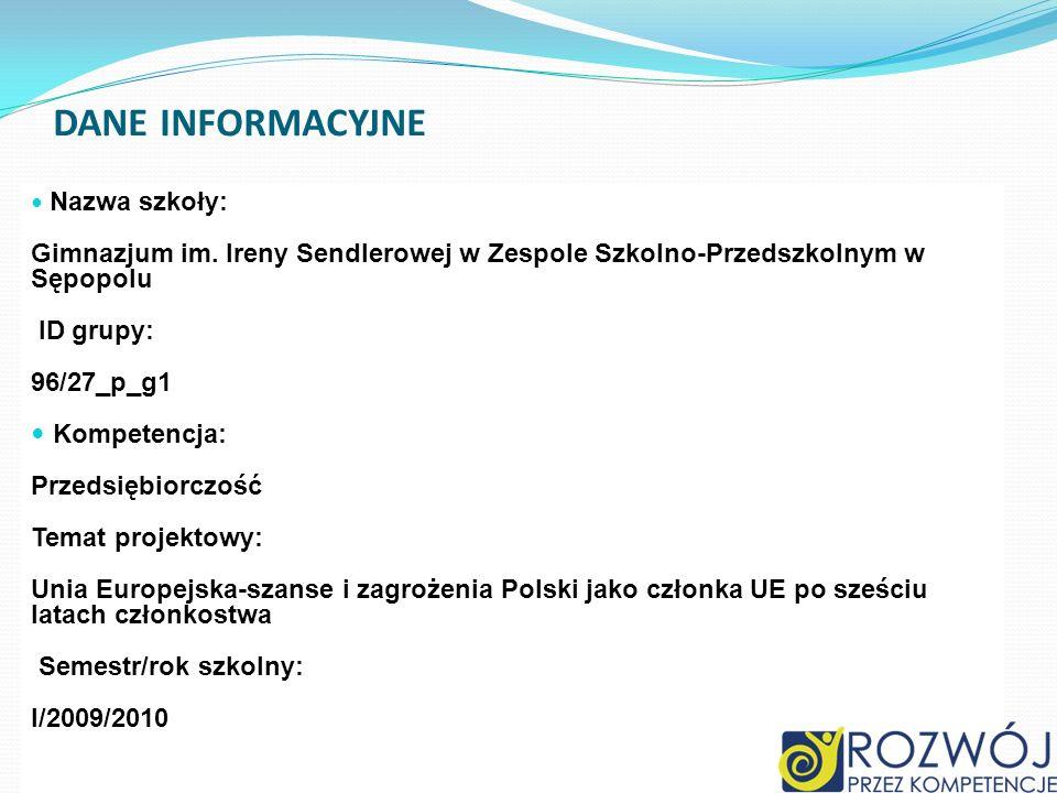 Dane INFORMACYJNE Nazwa szkoły: Gimnazjum im. Ireny Sendlerowej w Zespole Szkolno-Przedszkolnym w Sępopolu.