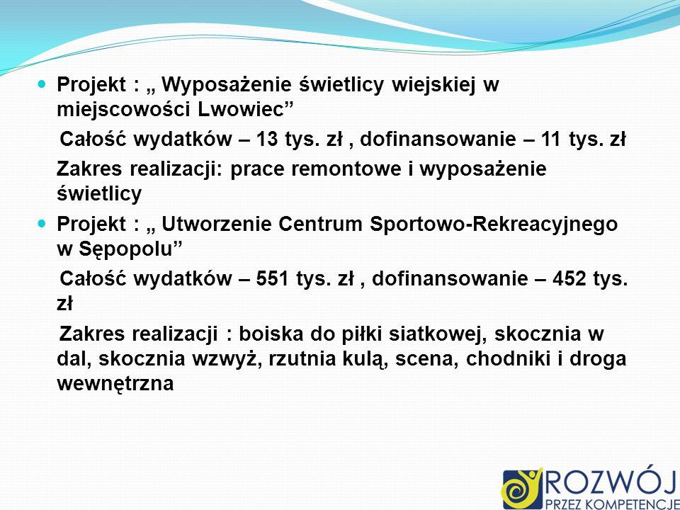 """Projekt : """" Wyposażenie świetlicy wiejskiej w miejscowości Lwowiec"""