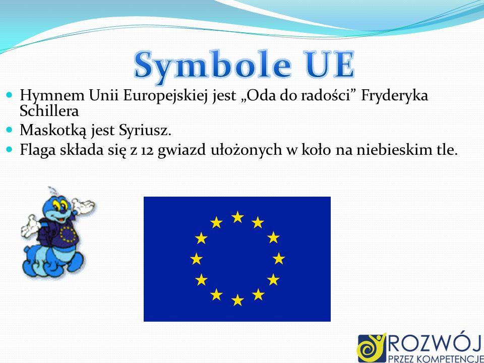 """Symbole UE Hymnem Unii Europejskiej jest """"Oda do radości Fryderyka Schillera. Maskotką jest Syriusz."""