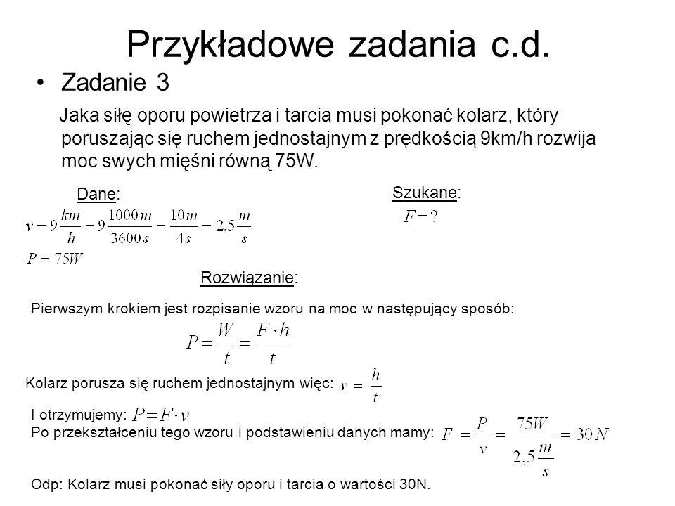 Przykładowe zadania c.d.