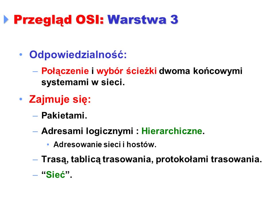 Przegląd OSI: Warstwa 3 Odpowiedzialność: Zajmuje się: