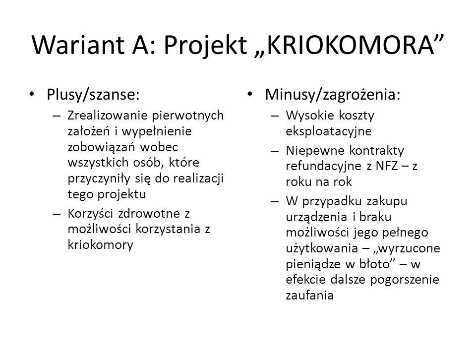 "Wariant A: Projekt ""KRIOKOMORA"