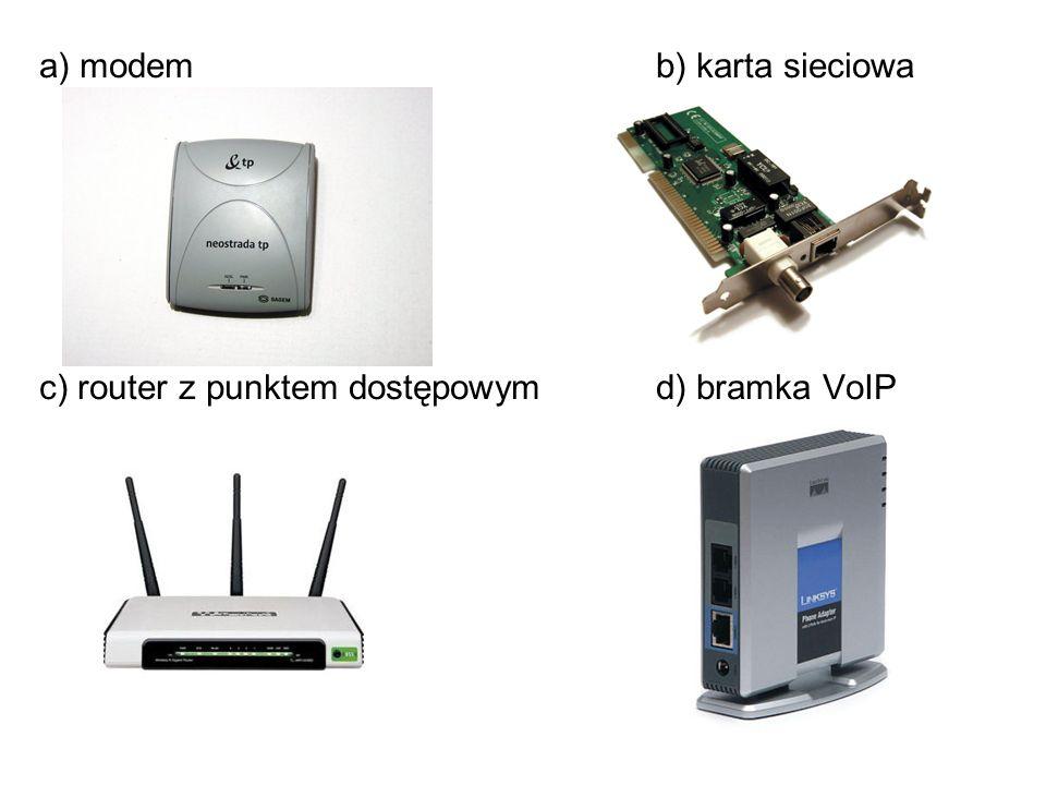 a) modem b) karta sieciowa