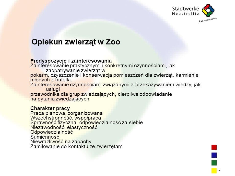 Opiekun zwierząt w Zoo Predyspozycje i zainteresowania