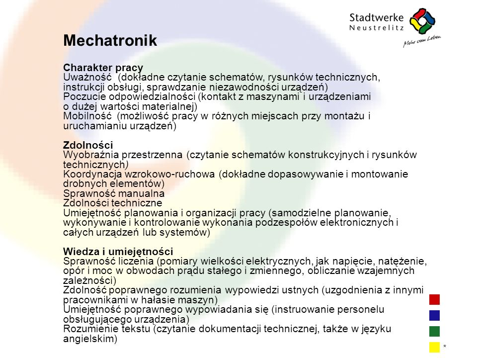 Mechatronik Charakter pracy