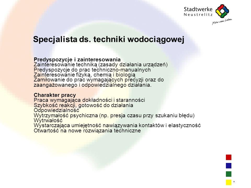 Specjalista ds. techniki wodociągowej