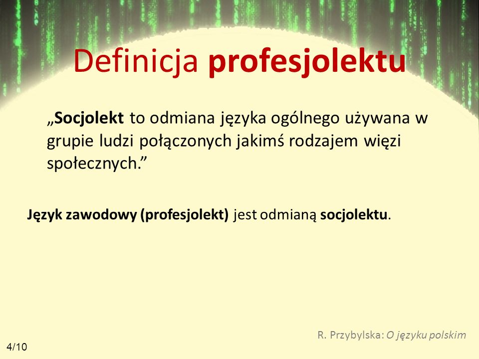 Definicja profesjolektu