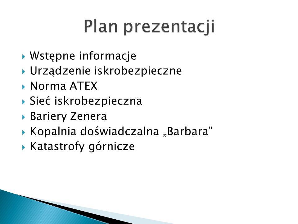 Plan prezentacji Wstępne informacje Urządzenie iskrobezpieczne