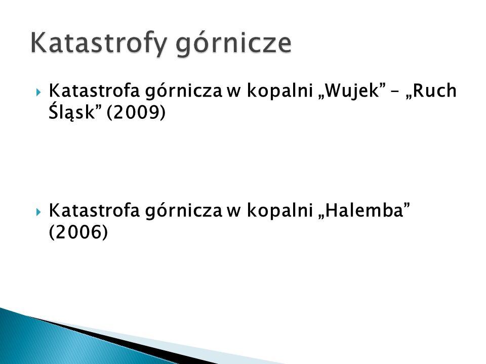 """Katastrofy górnicze Katastrofa górnicza w kopalni """"Wujek – """"Ruch Śląsk (2009) Katastrofa górnicza w kopalni """"Halemba (2006)"""