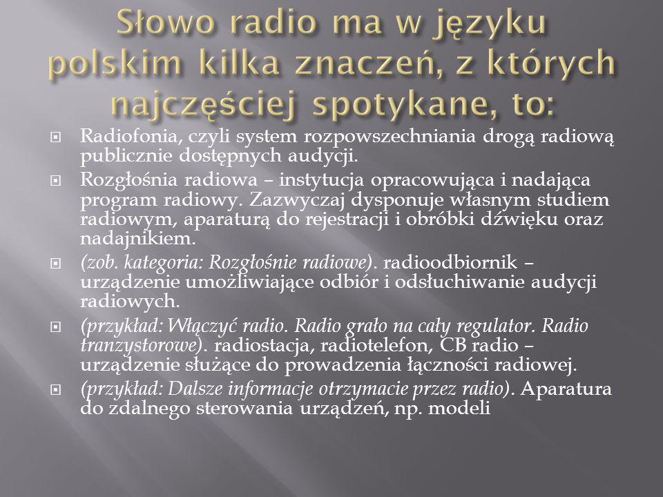 Słowo radio ma w języku polskim kilka znaczeń, z których najczęściej spotykane, to: