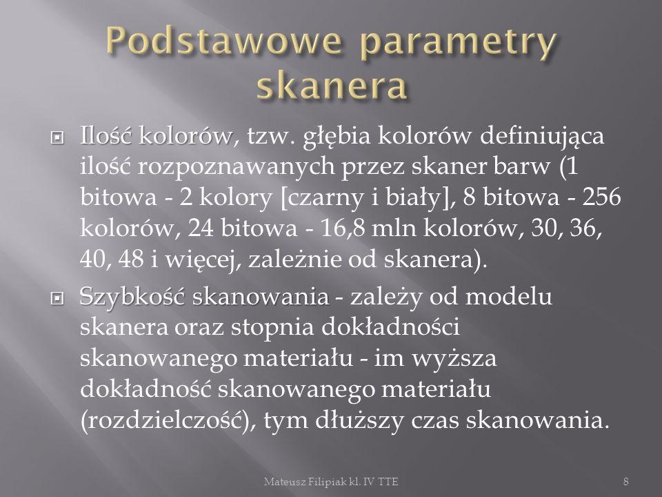 Podstawowe parametry skanera