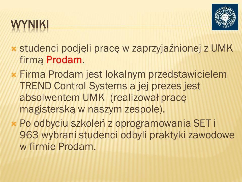 Wyniki studenci podjęli pracę w zaprzyjaźnionej z UMK firmą Prodam.