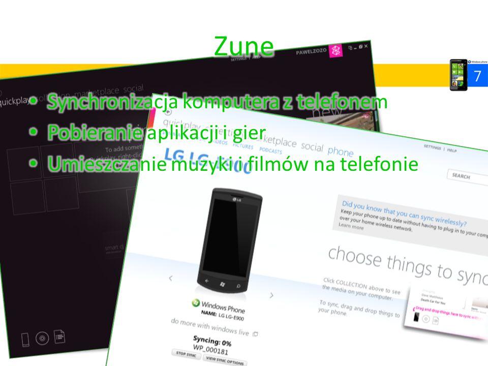 Zune Synchronizacja komputera z telefonem Pobieranie aplikacji i gier