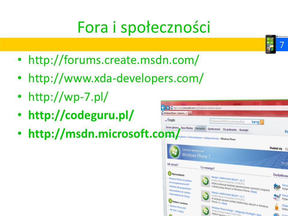 Fora i społeczności http://forums.create.msdn.com/