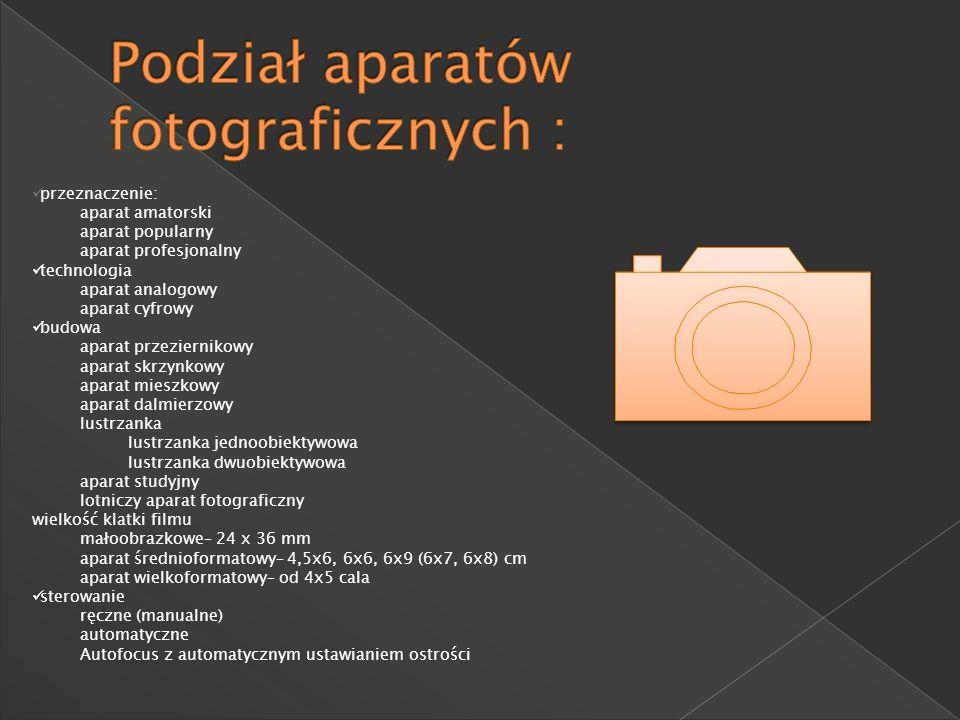 Podział aparatów fotograficznych :