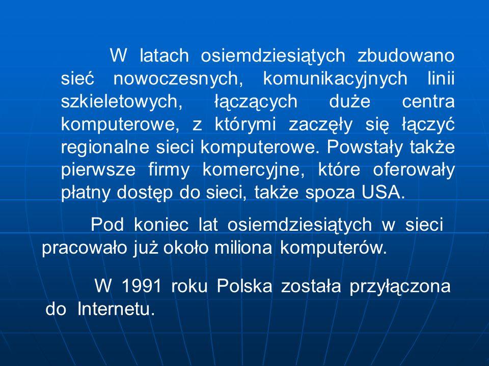 W 1991 roku Polska została przyłączona do Internetu.