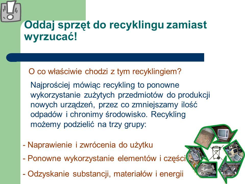 Oddaj sprzęt do recyklingu zamiast wyrzucać!