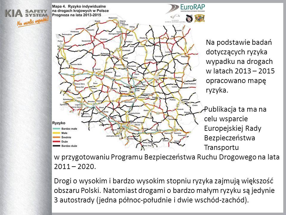 Na podstawie badań dotyczących ryzyka. wypadku na drogach. w latach 2013 – 2015. opracowano mapę.