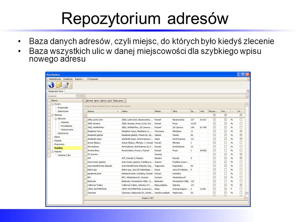 Repozytorium adresów Baza danych adresów, czyli miejsc, do których było kiedyś zlecenie.