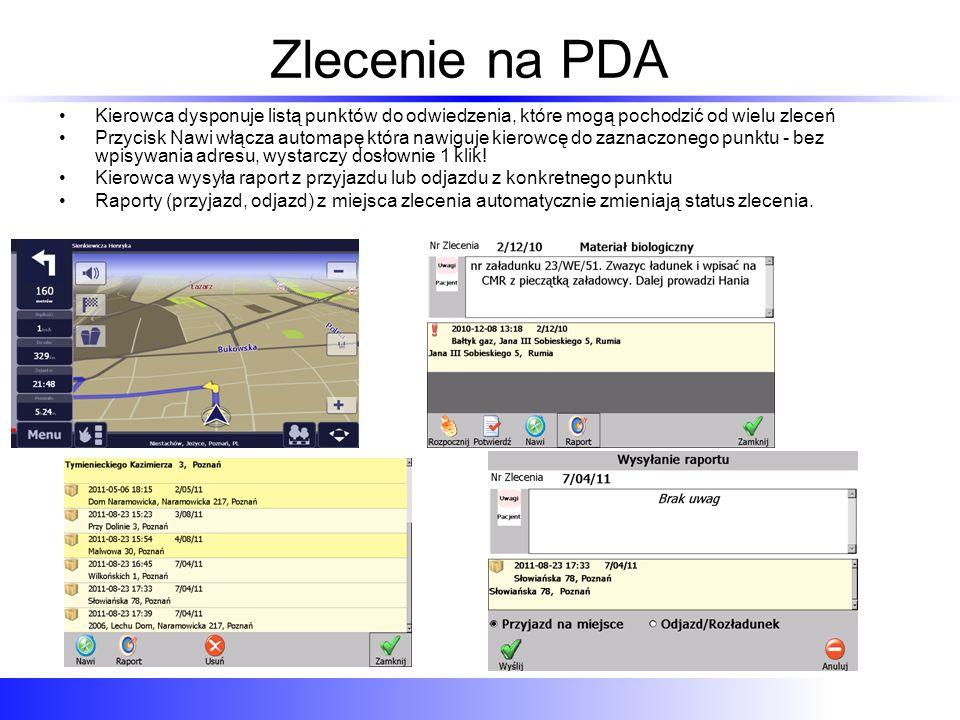 Zlecenie na PDA Kierowca dysponuje listą punktów do odwiedzenia, które mogą pochodzić od wielu zleceń.