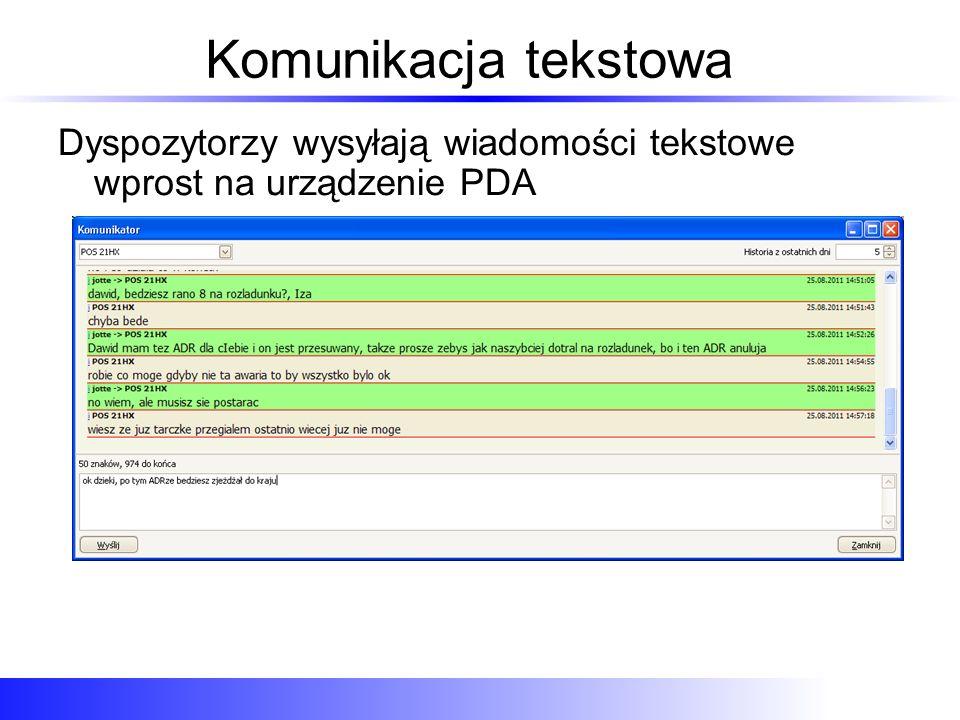 Komunikacja tekstowa Dyspozytorzy wysyłają wiadomości tekstowe wprost na urządzenie PDA
