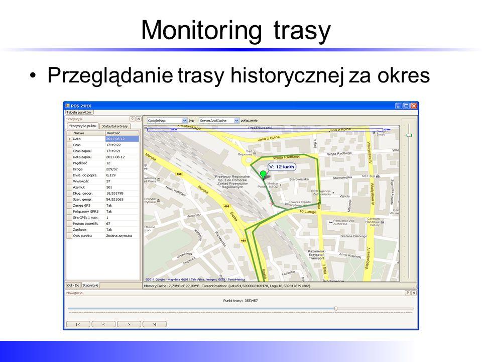 Monitoring trasy Przeglądanie trasy historycznej za okres