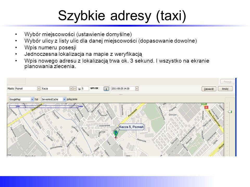 Szybkie adresy (taxi) Wybór miejscowości (ustawienie domyślne)